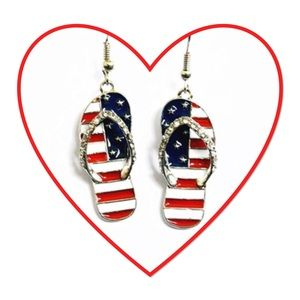 Boutique Jewelry - Patriotic Flip Flop Earrings