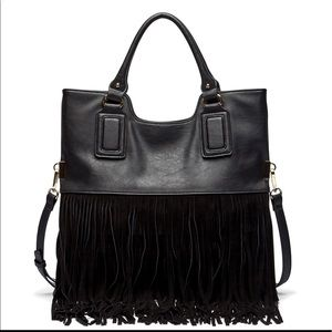 Sole Society Handbags - NWT- Black Suede & Leather Fringe Bag