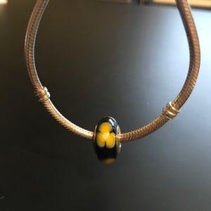 Pandora Jewelry - Pandora Bead - Black with Yellow Flowers