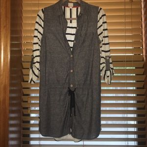 Chambray and stripes shirtdress