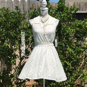 Bailey Blue Dresses & Skirts - 🆕 Faux Wrap Front Lace Flare Dress