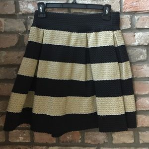 High-waisted, gold and black striped, A-Line skirt