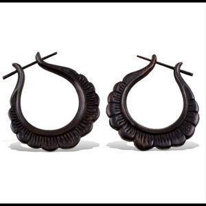 "17/21 Exclusive Denim Jewelry - Coco Loco ""Daisy Hoops"" wood earrings"