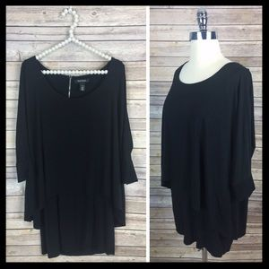 WHBM // tiered jersey black tunic top