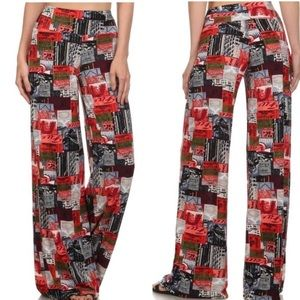 Classic Woman Pants - Just in! Red Print Wide Leg Pants