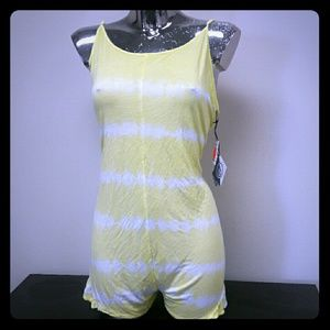 Volcom Pants - VOLCOM Bad Habitz Romper Yellow & White
