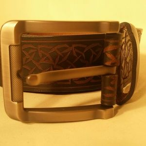 Unknown Other - Embossed Skull Leather Belt BROWN