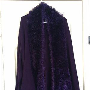 Catherines Sweaters - Purple fluffy cardigan.