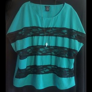 torrid Tops - Torrid Teal and Black Lace Tunic