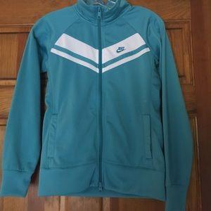 Nike Sportswear aqua and white dry fit jacket