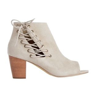JustFab Shoes - JUST FAB - Willow - Taupe Corset Lace Up Bootie