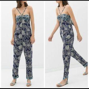Zara basic floral jumpsuit