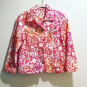 Orange & pink lightweight floral cotton jacket