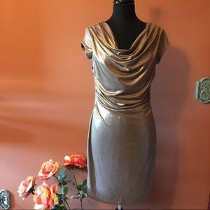 Worthington Dresses & Skirts - Gold Shimmery Cowl Neck Dress