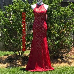 Red & Nude Lace Halter Mermaid Dress