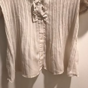 Sunny Leigh Tops - Ivory ribbed Victorian-style chiffon ruffled top