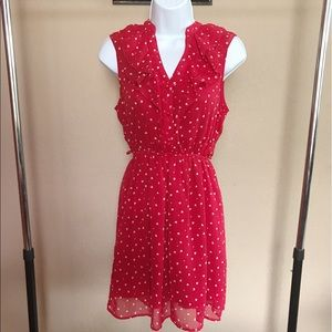 Dresses & Skirts - F21 Red & White Heart Patterned Ruffle Dress