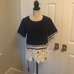 Goodnight Macaroon Tops - NWOT Navy and white blouse