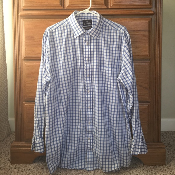 66 off stafford other stafford men 39 s fitted blue for Stafford dress shirts fitted
