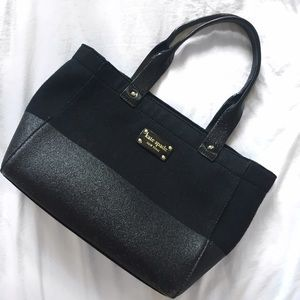 Kate Spade ♠️ Black Frosted Felt Quinn Tote