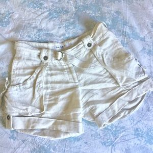 L.A.M.B. Pants - LAMB linen cream belted pocket shorts