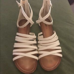 JustFab Shoes - White ankle gladiator style sandals