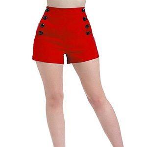 Voodoo Vixen Pants - VooDoo Vixen red sailor shorts with black buttons