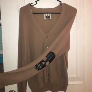 Brown/Tan cardigan with skull elbow patches
