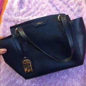 Ralph Lauren Handbags - Ralph Lauren blue leather satchel