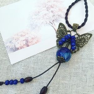 Jewelry - SOLD Handmade Butterfly Ceramic Long Necklace