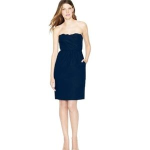 J. Crew Collection Scalloped Navy Dress Strapless