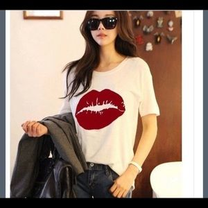 Tops - Trending White tshirt with red lips