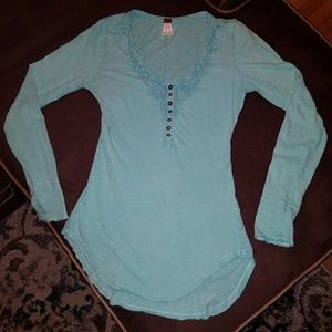 Free People Crocheted Neckline Henley Top (Teal)