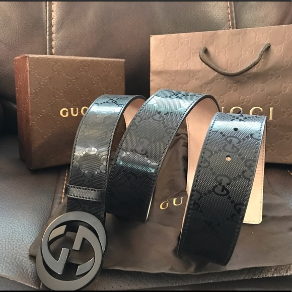 c8a0250a9 Gucci Accessories   Authentic Men Belt Black Shiny Imprime Gg   Poshmark