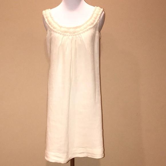 739de818d6 120 % Lino Dresses   Skirts - 120 Lino cream linen shift dress beaded  neckline