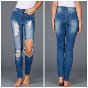 Denim - 1 & 13 LEFT Stretchy Distressed High Waisted Jeans
