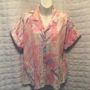 Vintage pastel splatter blouse 2X