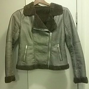 Alpine Swiss Jackets & Blazers - Alpine Faux Shearling brown MOTO JACKET size M