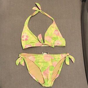 Lilly Pulitzer bikini neon green yellow pink