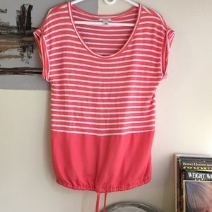 Caslon Tops - Caslon coral and white stripes and solid block top