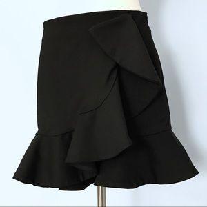 Zara Woman Black Structured Ruffle Trumpet Skirt