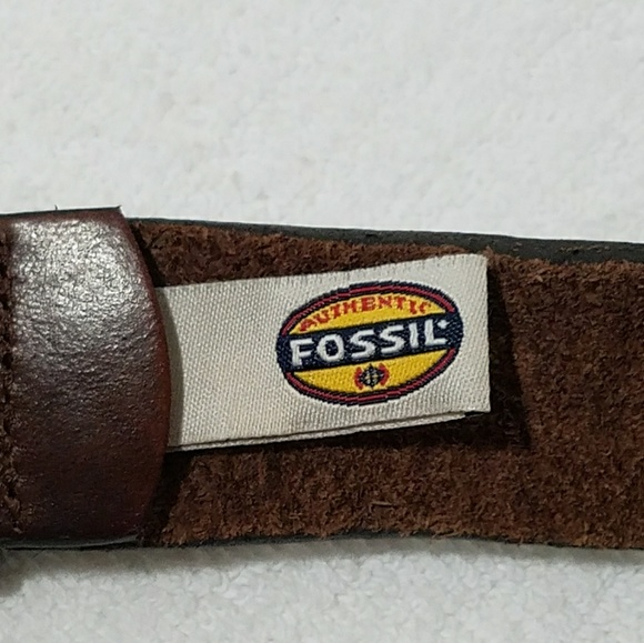 fossil fossil mens brown leather belt brass buckle from