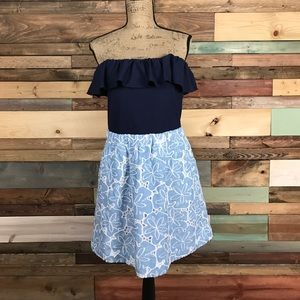 Lilly Pulitzer Dresses & Skirts - Lilly Pulitzer Strapless Ruffle Chambray Eyelet L