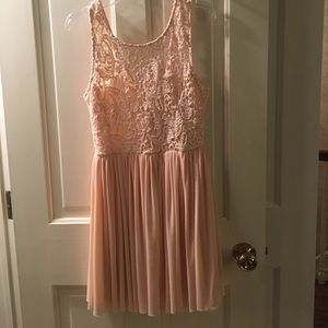 Angel Biba Dresses & Skirts - Angel Biba Pale Pink lace pleated dress