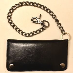 Other - Black Leather Biker Snap Wallet With Chain • EUC