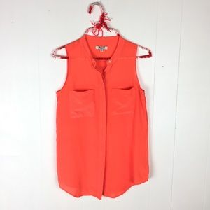 Madewell Pop Bright Orange Silk Cargo Tank // S