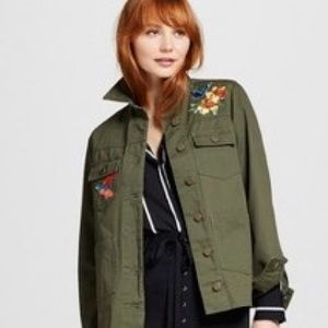 WHO WHAT WEAR Jackets & Blazers - WHO WHAT WEAR Embroidered Utility Shirt Jacket