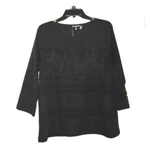 Karl Lagerfeld Tops - Karl lagerfeld black mid sleeve lace top
