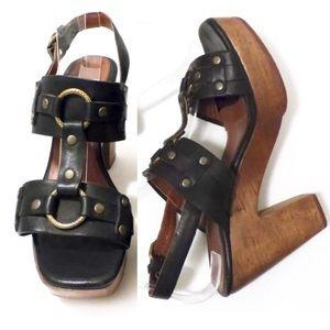 Rachel Comey Shoes - Rachel Comey Black Leather Wooden Platforms