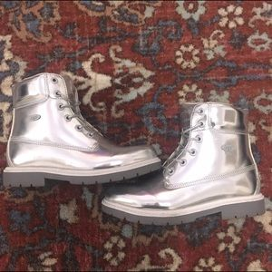 Lugz Shoes - Lugz Shifter Metallic Silver Combat Boots, Sz 8